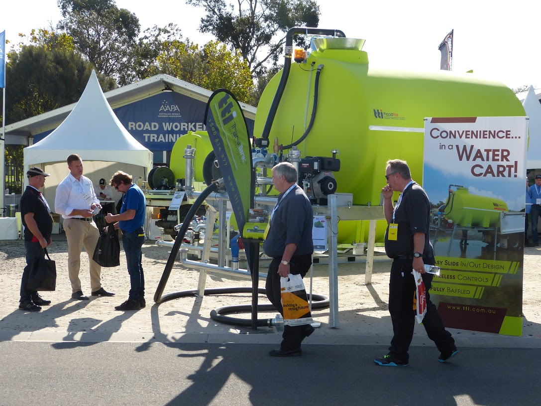 15000 litre and 17000 litre poly tanks draw a crowd at Roads & Civil Works Expo